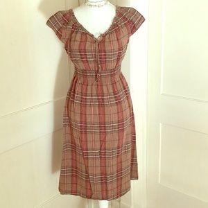 Dresses & Skirts - Plaid Cotton Linen Dress with smocked waist